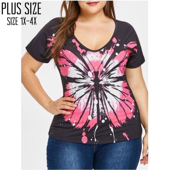 Tops - Plus Size Tie Dye Butterfly Tee